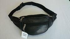BNWT Travel Bum Bag Soft Real Leather Black 002