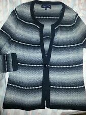 Jones New York Signature Petite Small Wool Angora black gray cardigan sweater PS