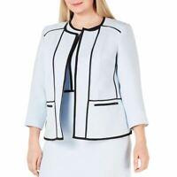 KASPER NEW Women's Plus Size Contrast-piping Blazer Jacket Top 18W TEDO