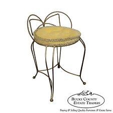 Vintage Hollywood Regency Italian Gilt Metal Vanity Chair