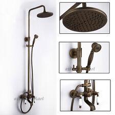 Antique Brass Round Rain Shower Head Bathtub Mixer Tap Spout W/ Hand Sprayer Set