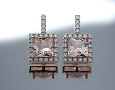 18K Rose Gold Over Sterling Silver Square Princess Morganite Halo Earrings 4Ct