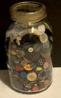 Vintage Mason Atlas Jar With Vintage Buttons