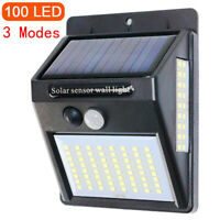 100 LED Solar Power Light PIR Motion Sensor Security Outdoor Garden Wall Lamp RG