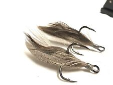 "Owner ST-41 BC 2X Strong 1/0 ""Smoke"" Xmarks Custom Feathered Trebles"