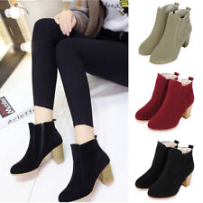 Womens Ladies Winter Suede Ankle Boots Chunky Block Mid Heel Side Zip Shoes Size