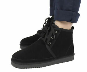 US Mens Winter Suede Boots Ankle Fur Warm Shoes Casual Cozy flat Home Slippers