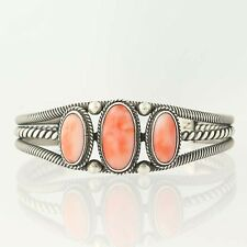 "Native American Coral Cuff Bracelet 6"" - Sterling Silver Rope Design Signed NC"