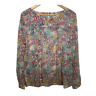 Ann Taylor Loft Womens Long Sleeve Top Crew Neck Floral Blouse Shirt Size Large