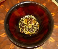 Early SIGNED Edward WINTER Art Enamel COPPER Dish Bowl Plate Lg GOLD Pear RARE