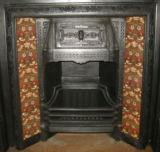 ARTS & CRAFTS WILLIAM MORRIS STRAWBERRY THIEF RED FIREPLACE TILES SET