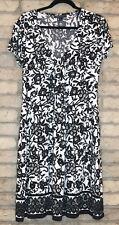 sz 12 CONNECTED APARREL Dress Short Sleeve Poly/Spandx Black&White LACE PATTERN