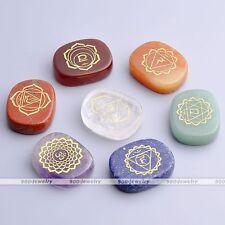 7x Engraved Symbols Chakra Crystal Reiki Healing Balancing Energy Palm Stone Set