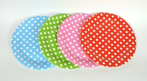 Polka Dot Blue Pink Red Green Party Plates Paper Disposable Wedding Tableware
