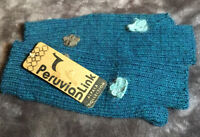 Alpaca Fingerless Gloves, New with Tags, One Size Teal Blue Gray Flowers