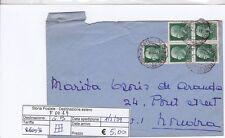 F0019 - LETTERA PER GRAN BRETAGNA - IMPERIALE 25 CENT BLOCCO DI 5