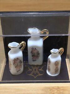 REUTTER PORCELAIN Dollhouse Miniature Hand Painted Rose Floral Vases Gold Trim.