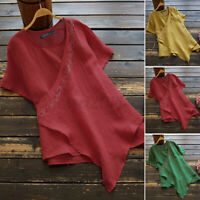 Women Linen Cotton Embroidered T-Shirt Tee Shirt Asymmetrical Hem Blouse Tops US