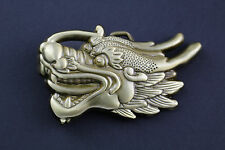 GOLD CHINESE DRAGON HEAD BELT BUCKLE METAL CALENDAR TRADITIONAL