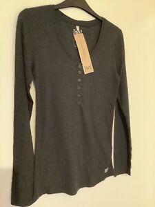 Super natural women's Henley t-shirt dark grey long sleeve merino wool blend