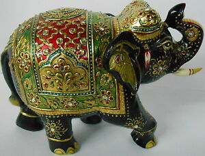 Elephant wooden embossed work  painted  home decorative art gold work animal