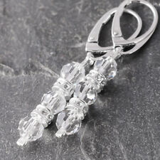 925 Sterling Silver Leverback Earrings Faceted Clear Crystals from Swarovski®