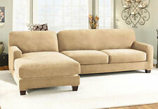 Sure Fit Slipcover Stretch Piqué 5pc Sectional Slipcover - Left Chaise Cream
