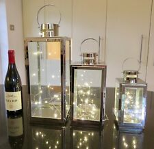 Square Stainless steel set of 3 LANTERNS with FREE 3 sets 20 LED lights