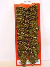 10 Green Flocked Wired 3.5 Inch Bows Christmas CraftTree Package Decoration