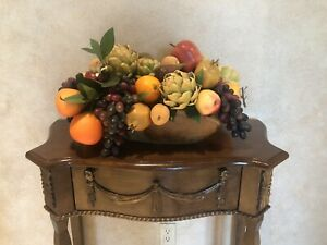 Stunning Artificial Tuscan Fruit Centerpiece Arrangement In A Wood Container