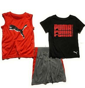 Puma Boys' 3 Pcs Set (Short /T-Shirt / Muscle Shirt) Outfit Ages 4- 17 Years