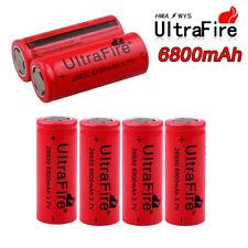 6pcs UltraFire 6800mAh Rechargeable Li-ion 26650 Battery Flat Top 3.7V Batteries