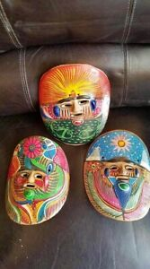 Vintage African Clay Face Mask Curved Wall Decoration - LOT OF 3