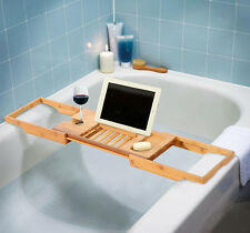 BAMBOO BATHROOM STORAGE CADDY SHELF RACK BRIDGE BATH TUB TRAY