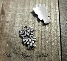 6 Owl Charms Antiqued Silver Tone Bird Pendants Halloween Animal Findings