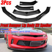 Carbon Fiber Front Bumper Lip Spoiler Splitters For Chevy Camaro V6 LS RS 15-18