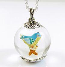 BETSEY JOHNSON 'Bauble' Glittery Song Blue Bird Globe Pendant Long Necklace