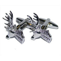 Silver Stags Head Deer Cufflinks With Gift Pouch Stag Country Shooting Sports