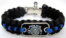 Police Lives Matter Thin Blue Line Paracord Survival Bracelet Metal Clasp L/XL