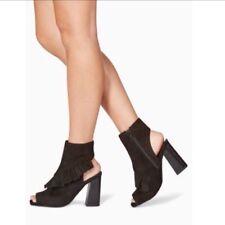 New🌹Next🌹Size 4 (37 EU)Real Suede Ruffle Shoe Boots,Peep Toe Block Heel £85