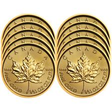 Lot of 10 - 2019 $5 Gold Canadian Maple Leaf .9999 1/10 oz Brilliant Uncirculate