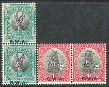 South West Africa 1930/31 black/green 1/2d black/carmine 1d photo mint SG68/69