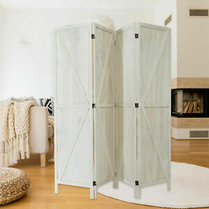 X-shaped Design 4 Panels Foldable Room Divider Freestanding Privacy Screen Home
