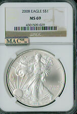 2008 SILVER EAGLE 1-OZ DOLLAR NGC MAC MS-69 PQ 2ND FINEST REGISTRY SPOTLESS *