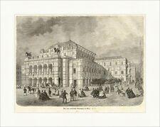 Das neue Kaiserliche Opernhaus in Wien Österreich K&K Pferde Holzstich E 5145