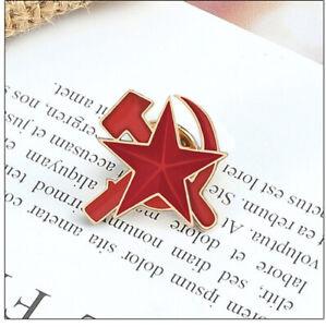 Soviet Union Russia Red Star Hammer Sickle Communist Pin Badge