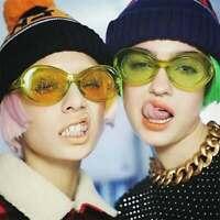 Sunglasses Women Men Oval Sun Glasses Glitter Lenses Eyewear Candy Colorful