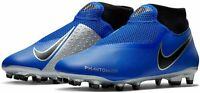 NIKE PHANTOM VSN ACADEMY FOOTBALL BOOTS DF FG/MG - UK 7 9 10 - BLUE/SILVER/BLACK