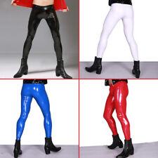 Men Sexy Shiny Leather Pants PVC Vinyl Wet Look Long Tight Trousers Clubwear