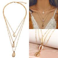 Natural Sea Shell Pendant Necklace Multi-layer Choker Chain Fashion Jewelry Gift
